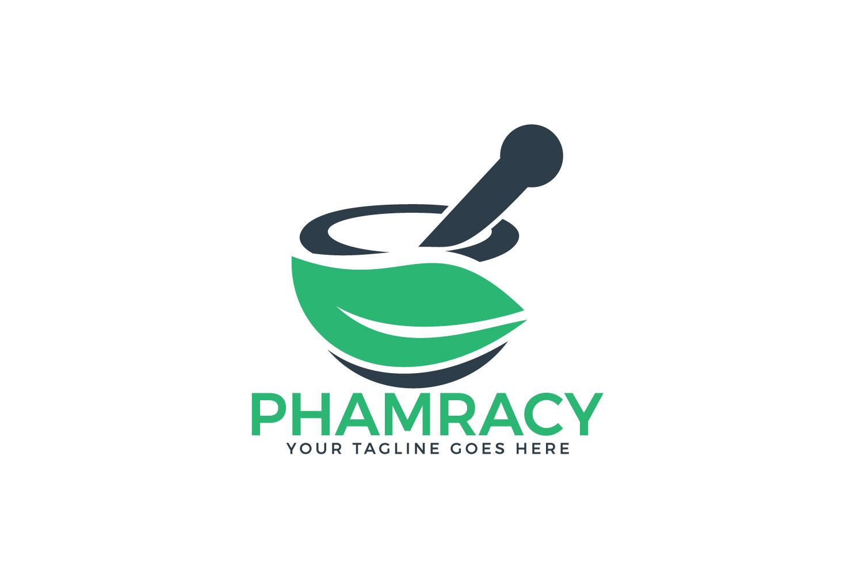 Pharmacy medical logo. Natural mortar and pestle logo. example image 1