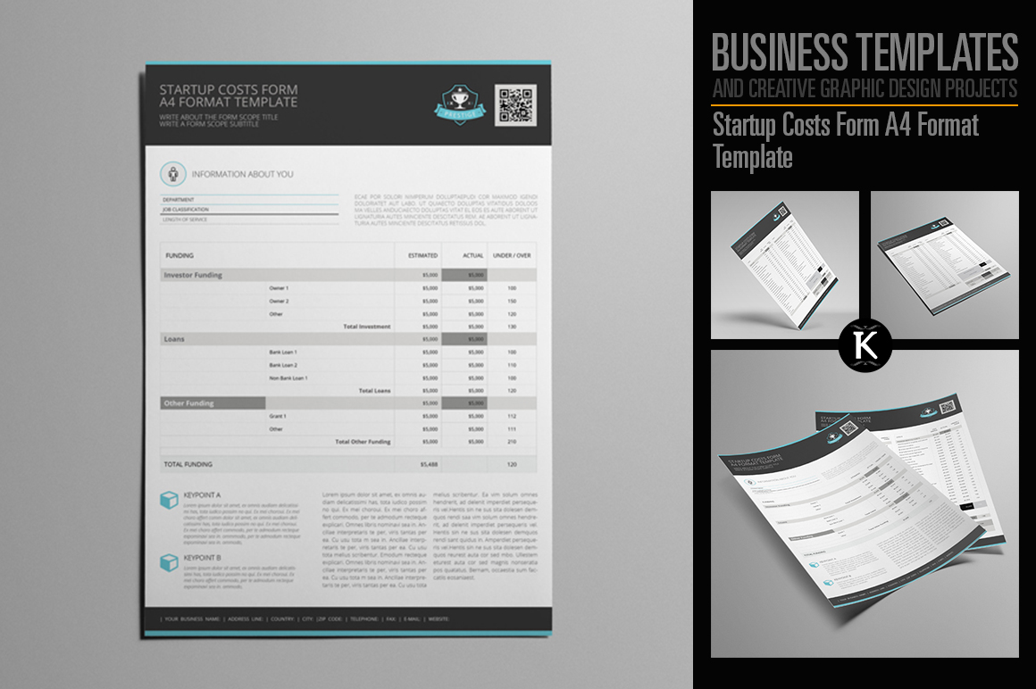 Startup Costs Form A4 Format Template example image 1