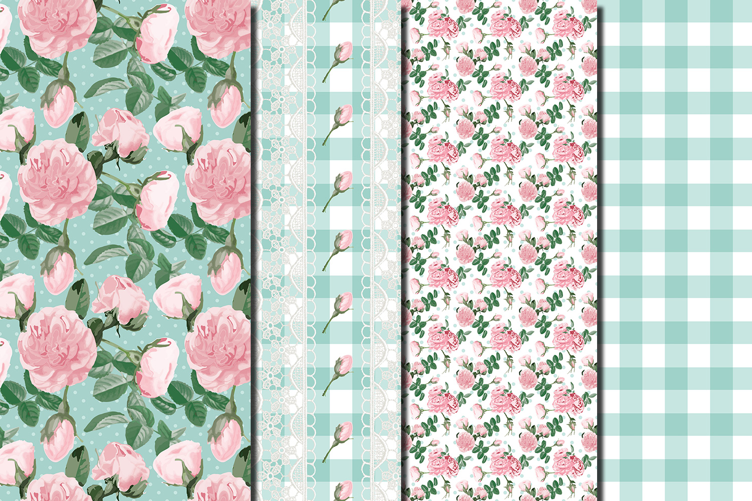 Shabby chic pink roses seamless patterns example image 4