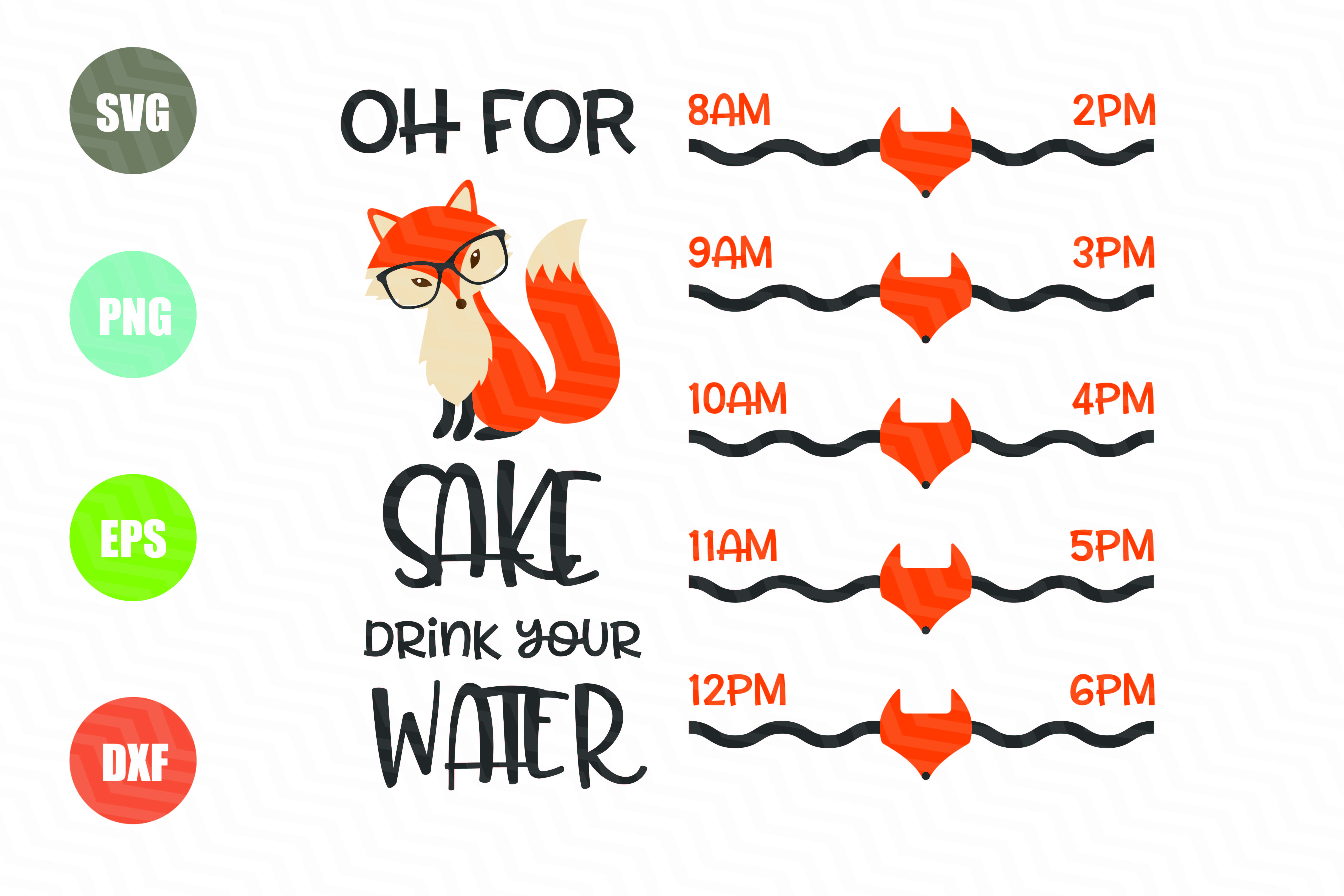 Oh For Fox Sake SVG, Water Tracker example image 1