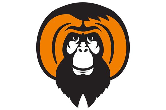 Orangutan Bearded Tussled Hair Retro example image 1