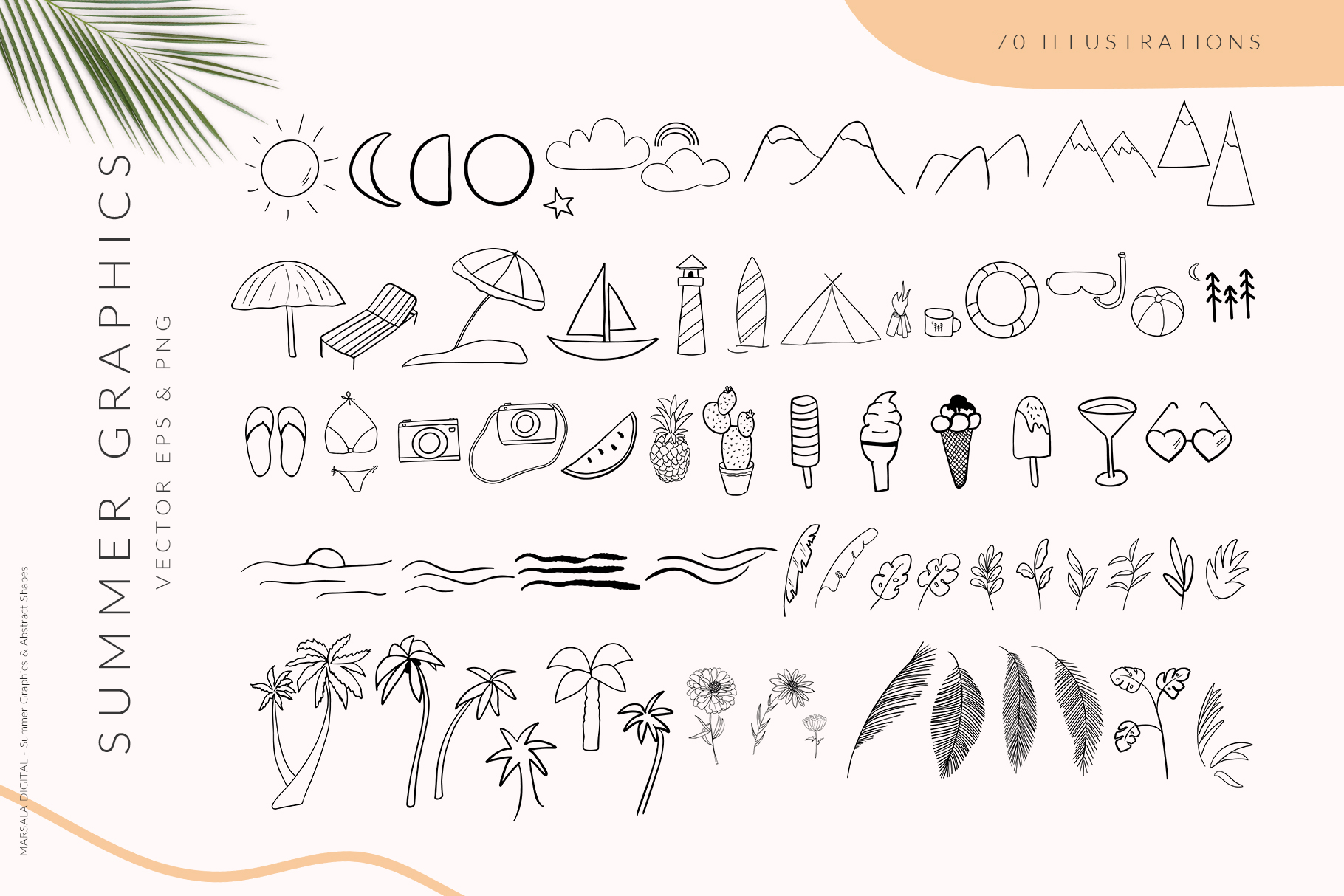 Abstract Shapes & Summer Line Art Vector Cliparts example image 6