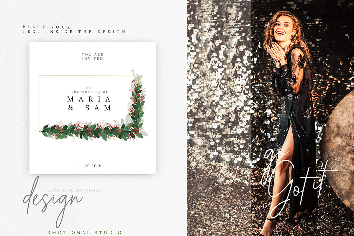 Christmas Watercolor Geometric Frames Collection example image 9