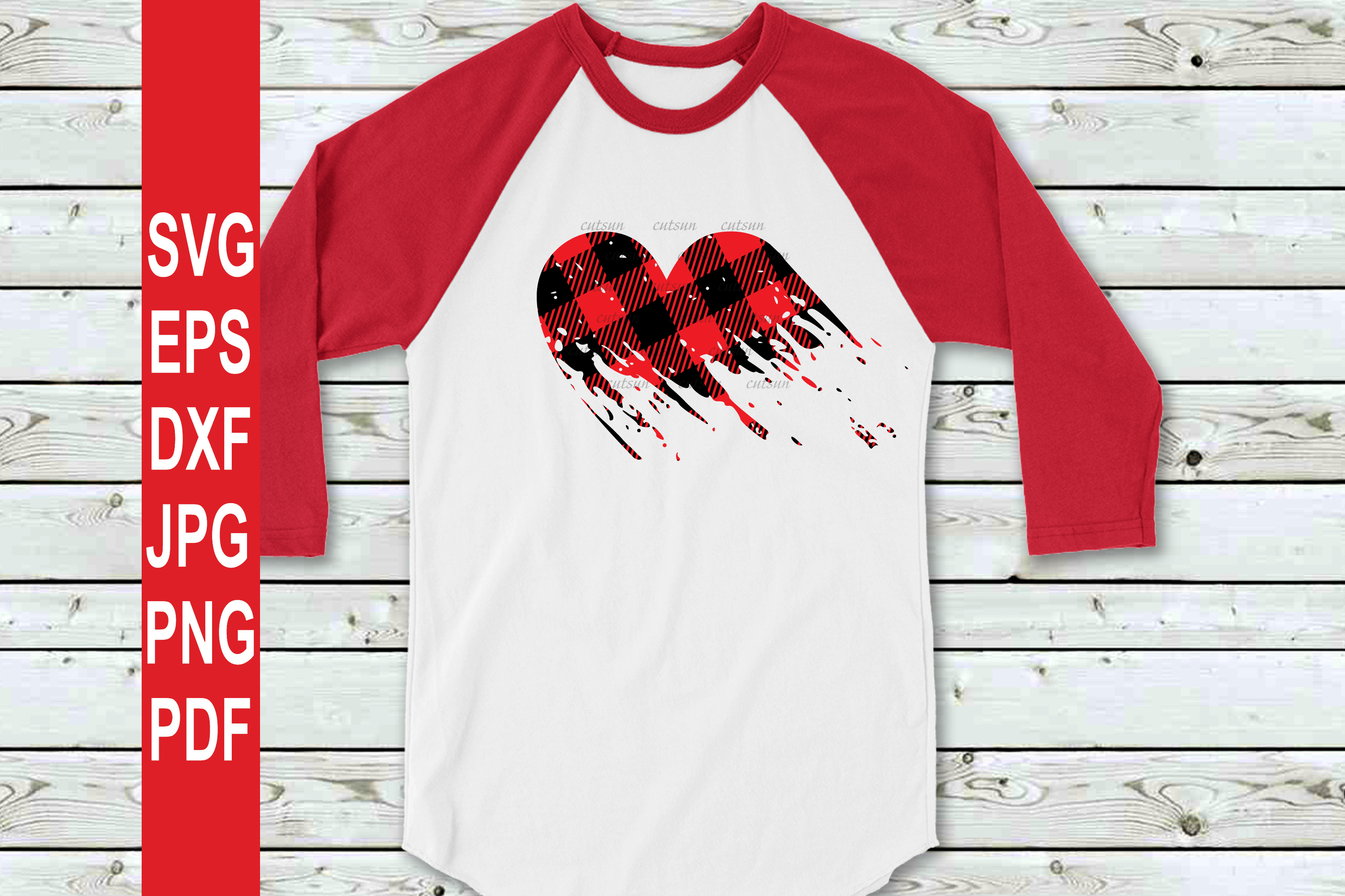 Valentine SVG| Plaid Heart Distressed SVG | Valentines day S example image 3