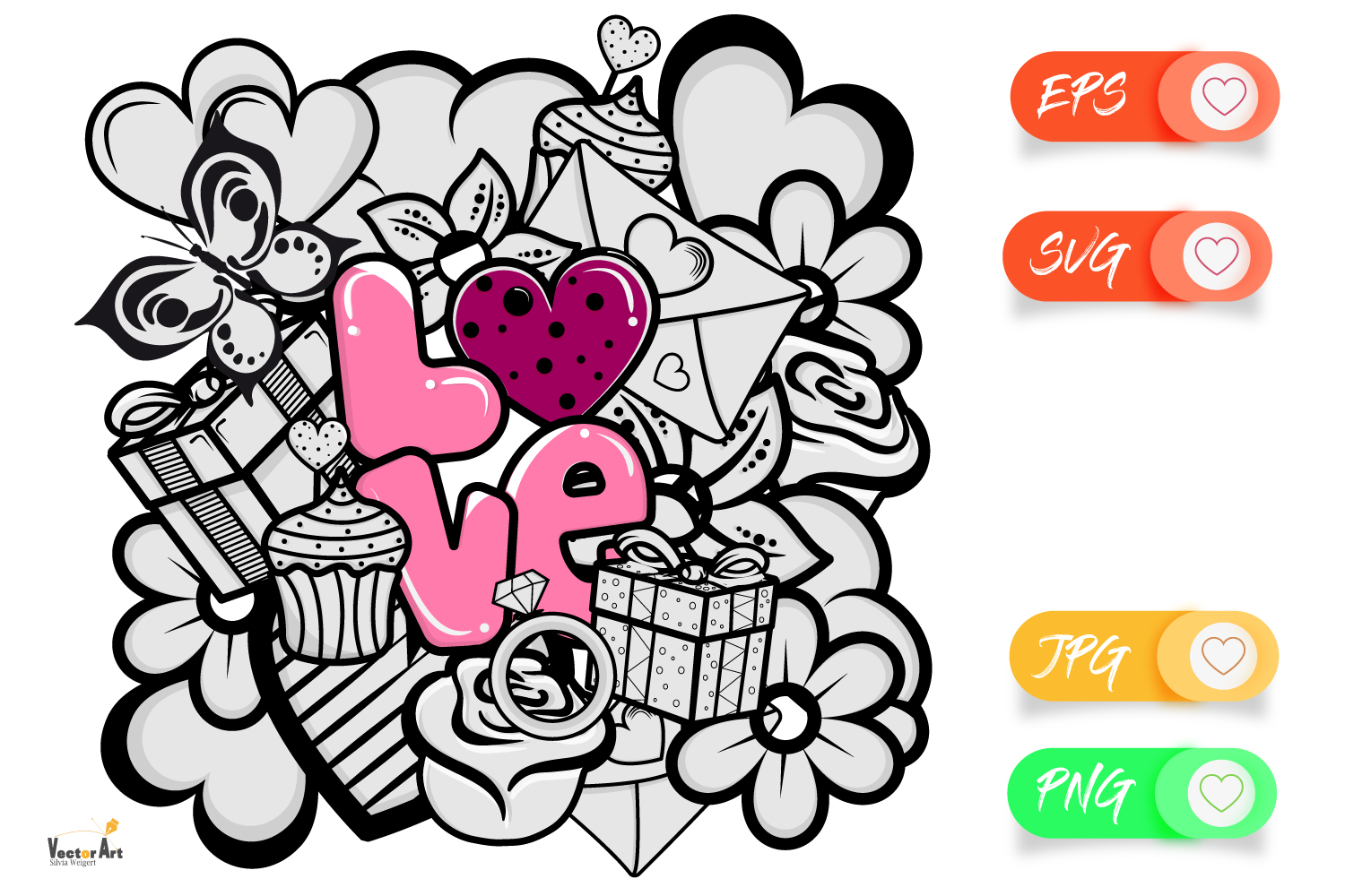 Love and Valentine - 11 Elements - Cut files example image 3