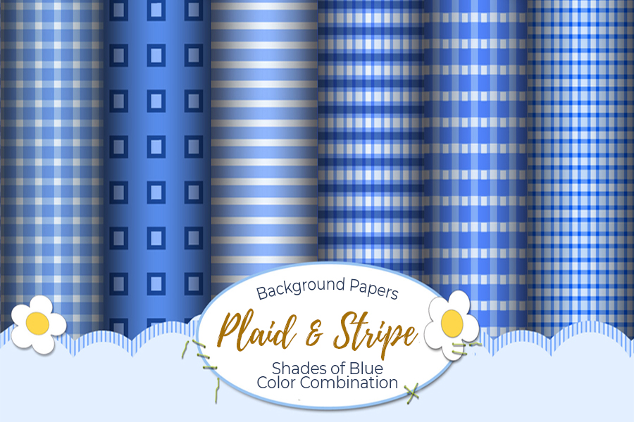 54 Plaid,Stripe & Dots on Blue Shades JPG Background Papers example image 16