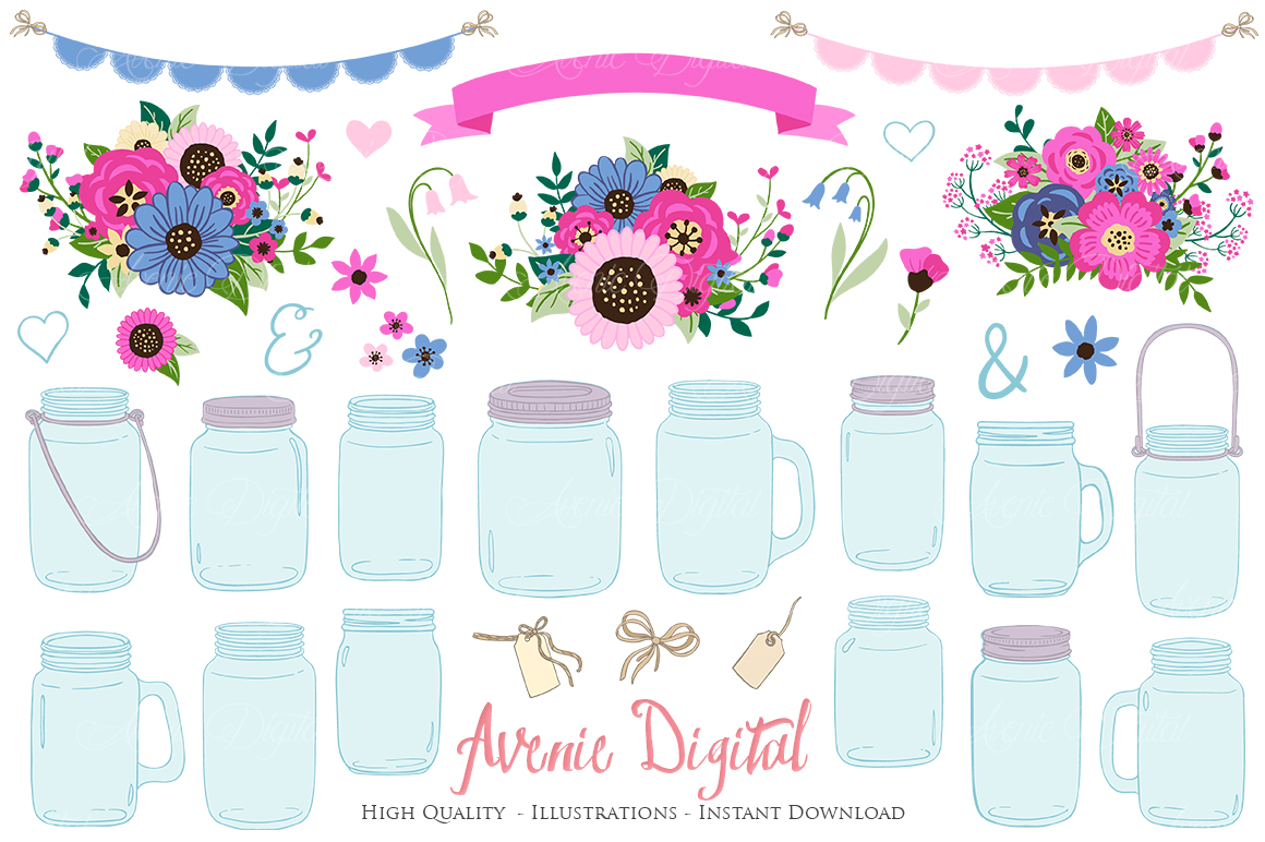 Pink and Navy Mason Jar Wedding Clipart example image 1