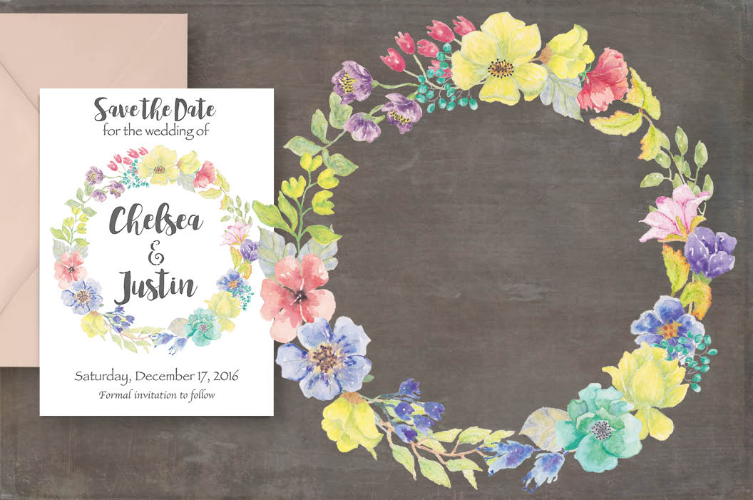 Watercolor wreath of bright spring flowers example image 2