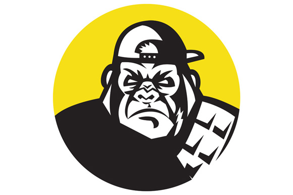 Angry Gorilla Head Baseball Cap Circle Retro example image 1