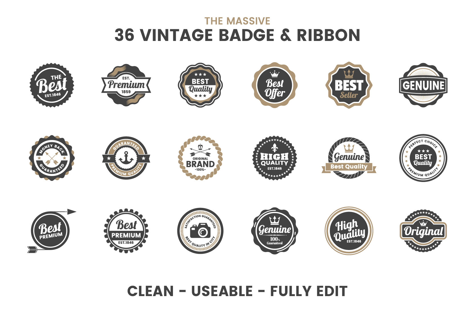 36 VINTAGE BADGE & RIBBON Vol.4 example image 6