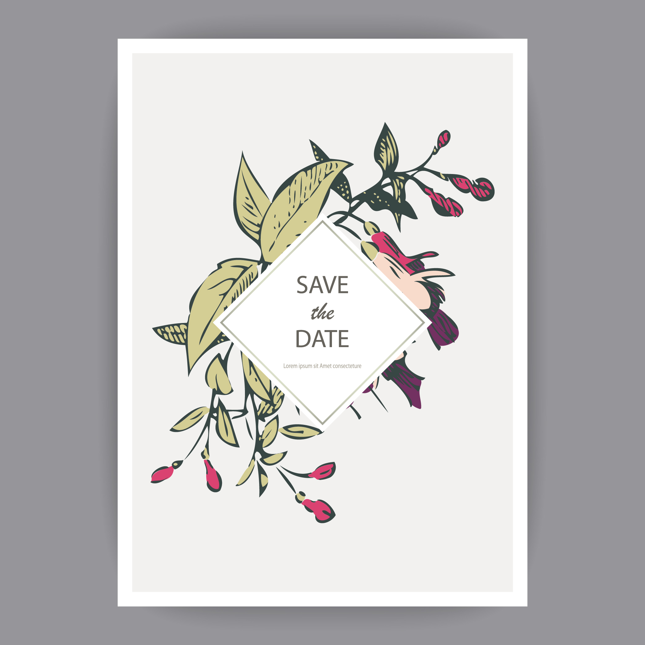Fuchsia flowers wedding invitation card template design example image 2