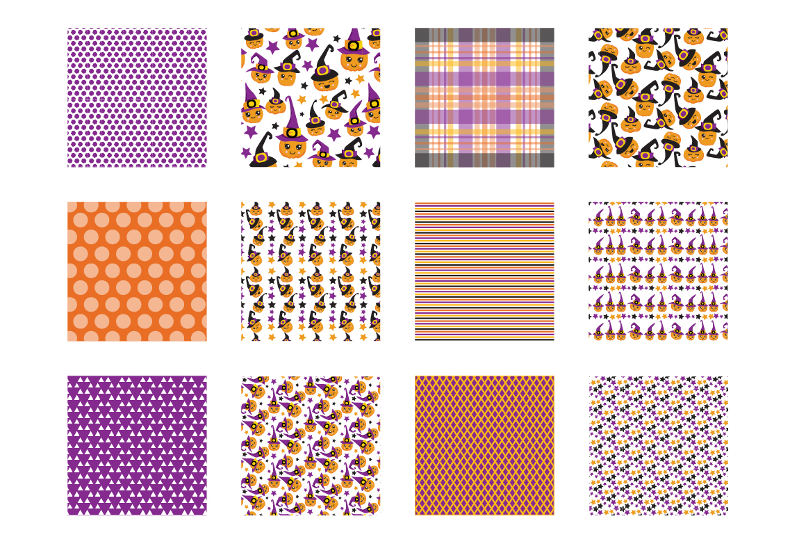 Witchy Halloween Pumpkins Pattern collection, vector ai, eps example image 2