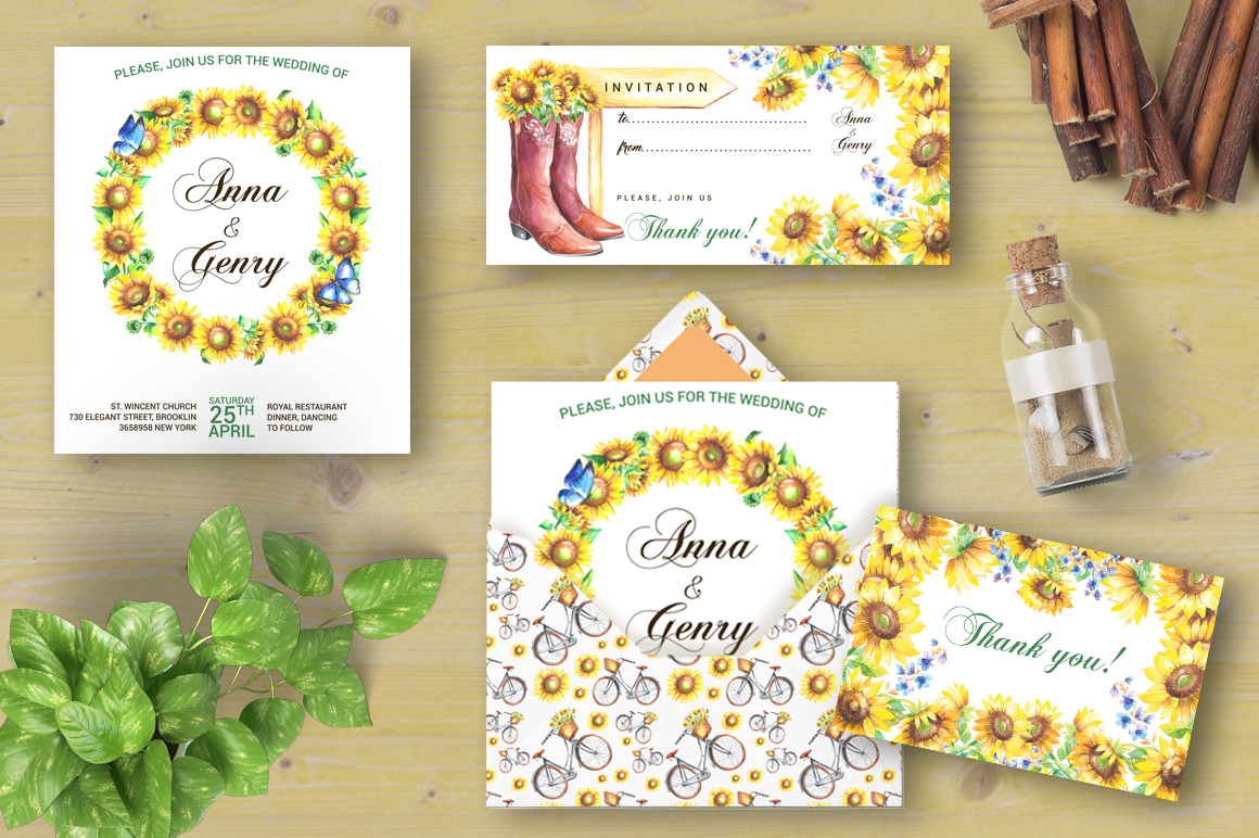 Sunflowers watercolor clipart example image 6