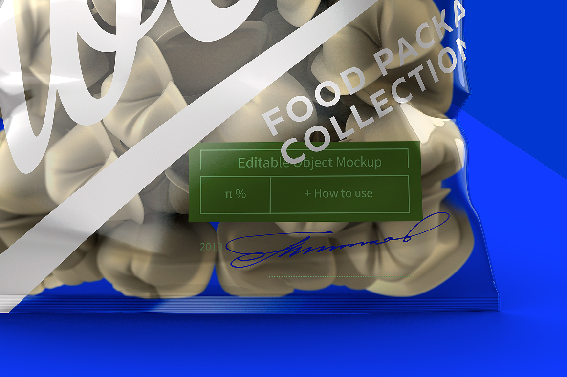 Clear Plastic Bag With Dumplings & Glossy Finish Mockup example image 7