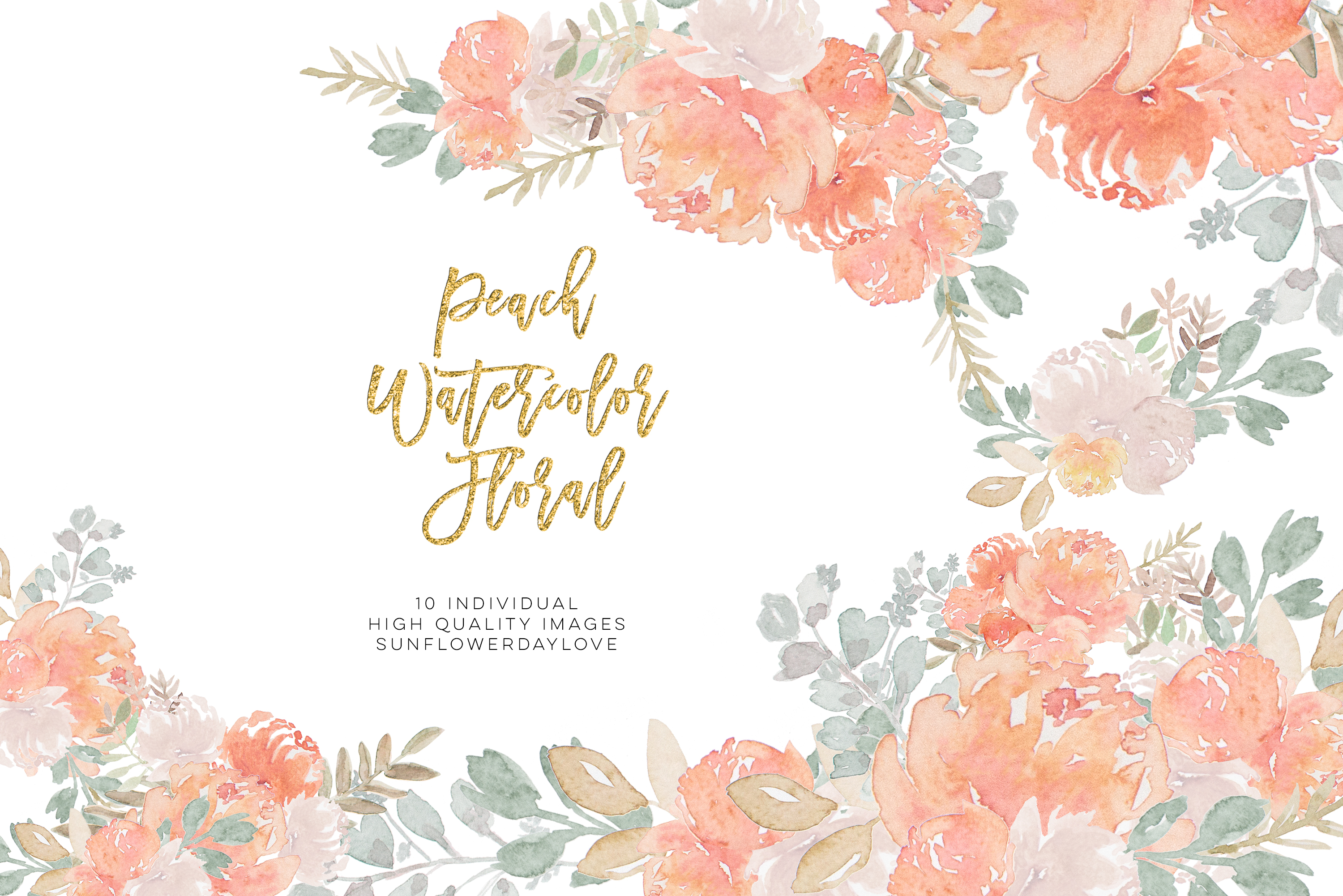 Peony Watercolor Clipart, pastel floral Watercolor Clipart, example image 4