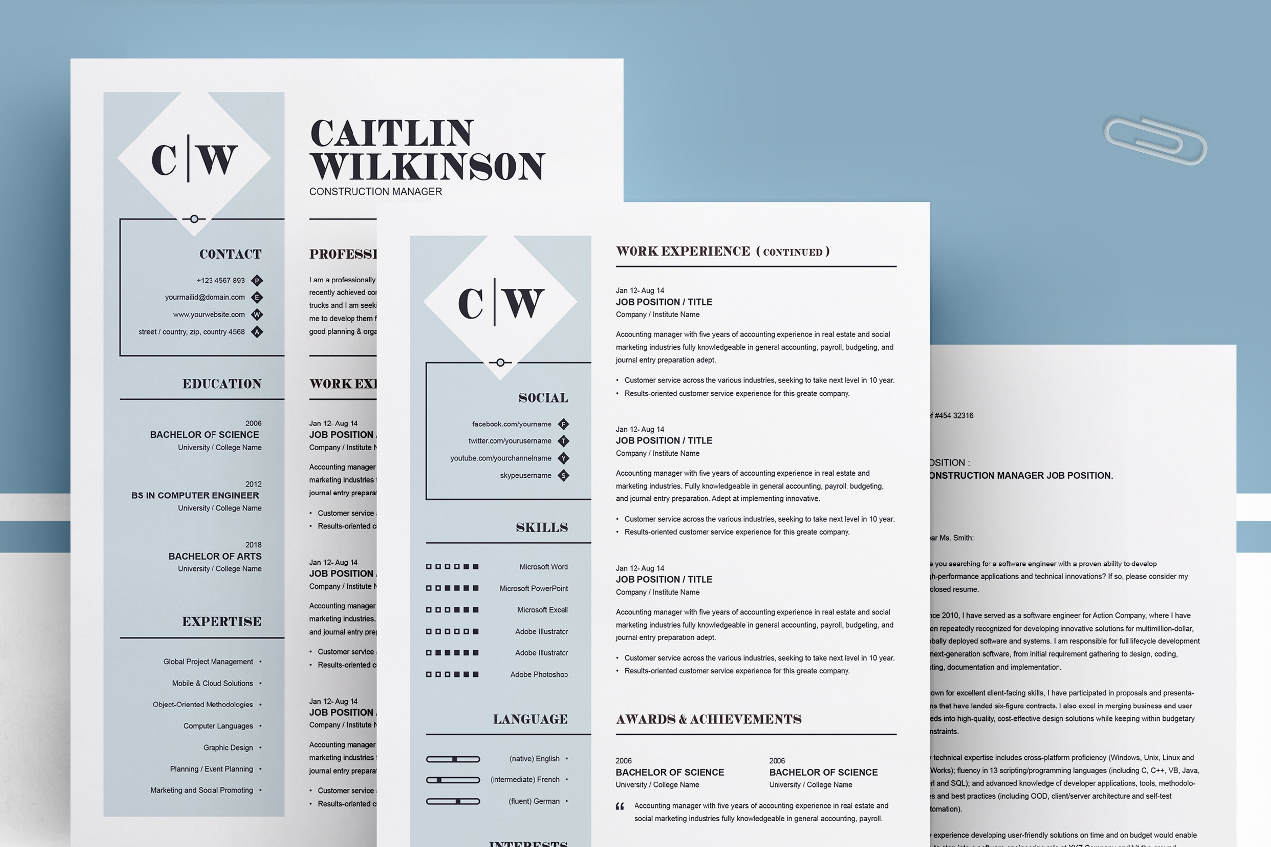 Professional Resume Template | MS Word, PSD, EPS example image 4
