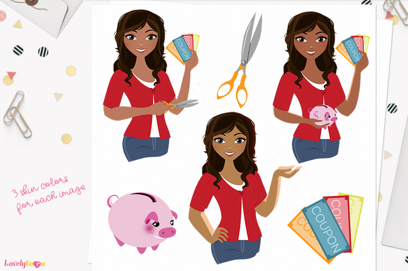 Woman money saver character clip art L124 Bliss example image 1