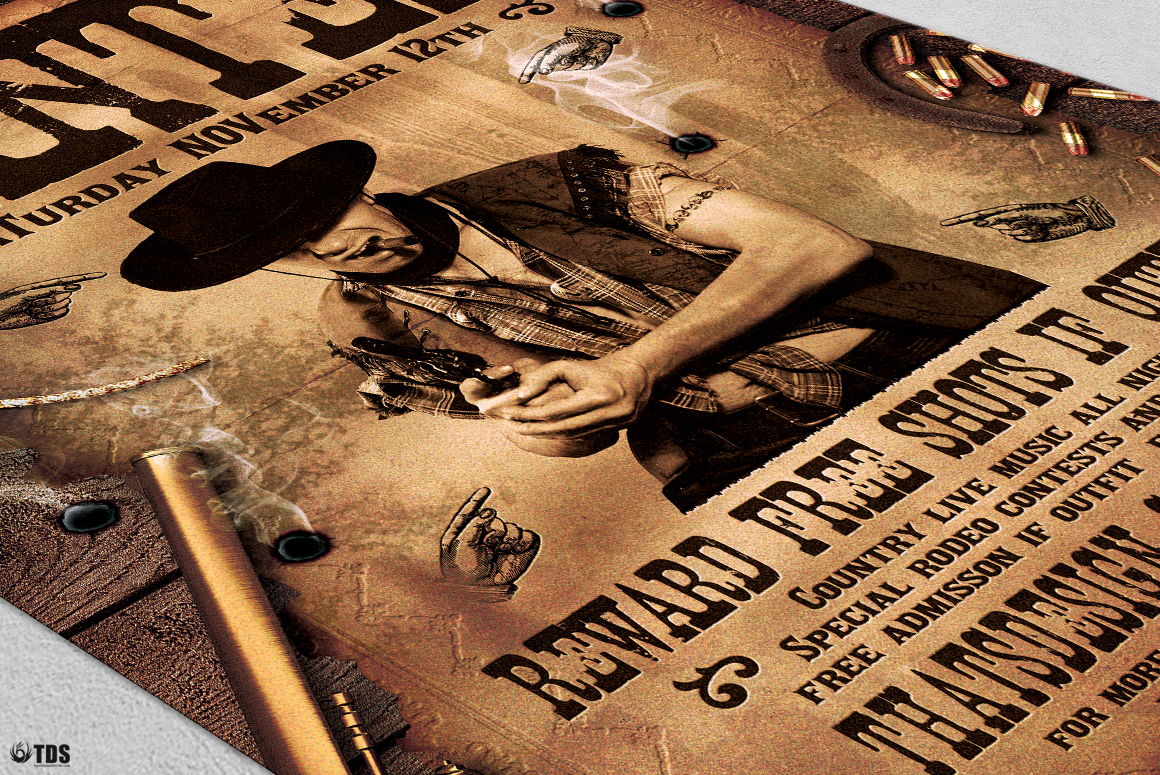Wanted Western Party Flyer Template example image 5