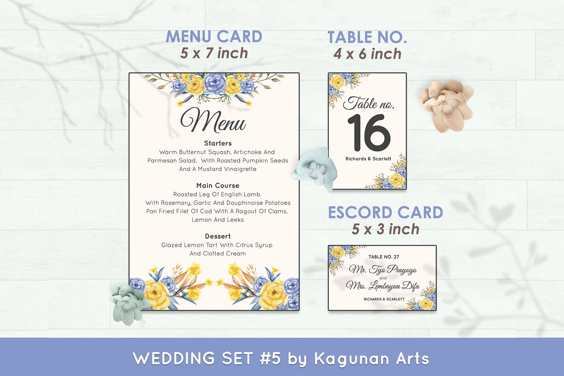 Wedding Invitation Set #6 Watercolor Floral Flower Style example image 6
