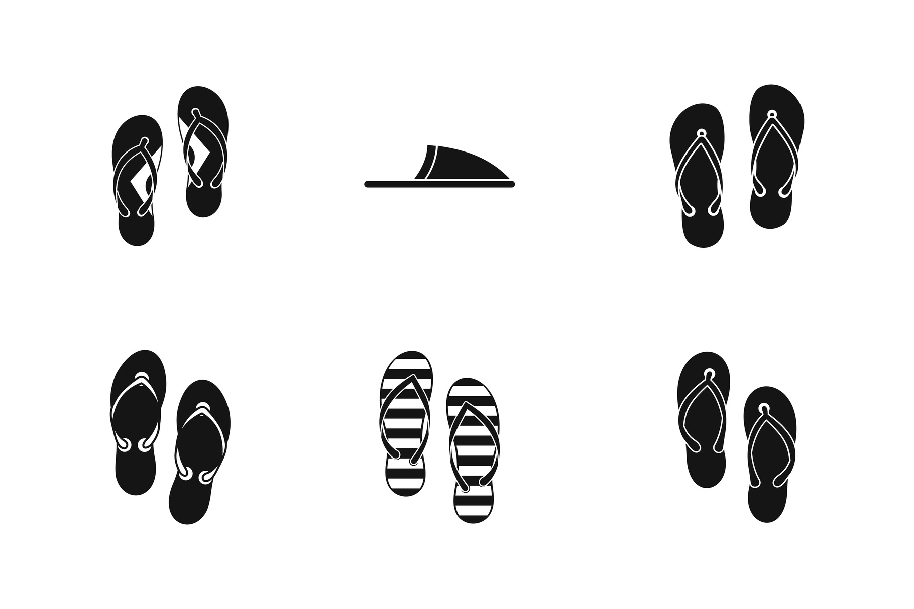 Slippers icon set, simple style example image 1