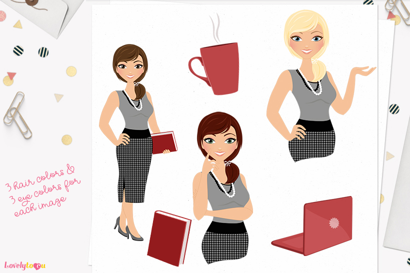Woman business character clip art L103 Georgia example image 1