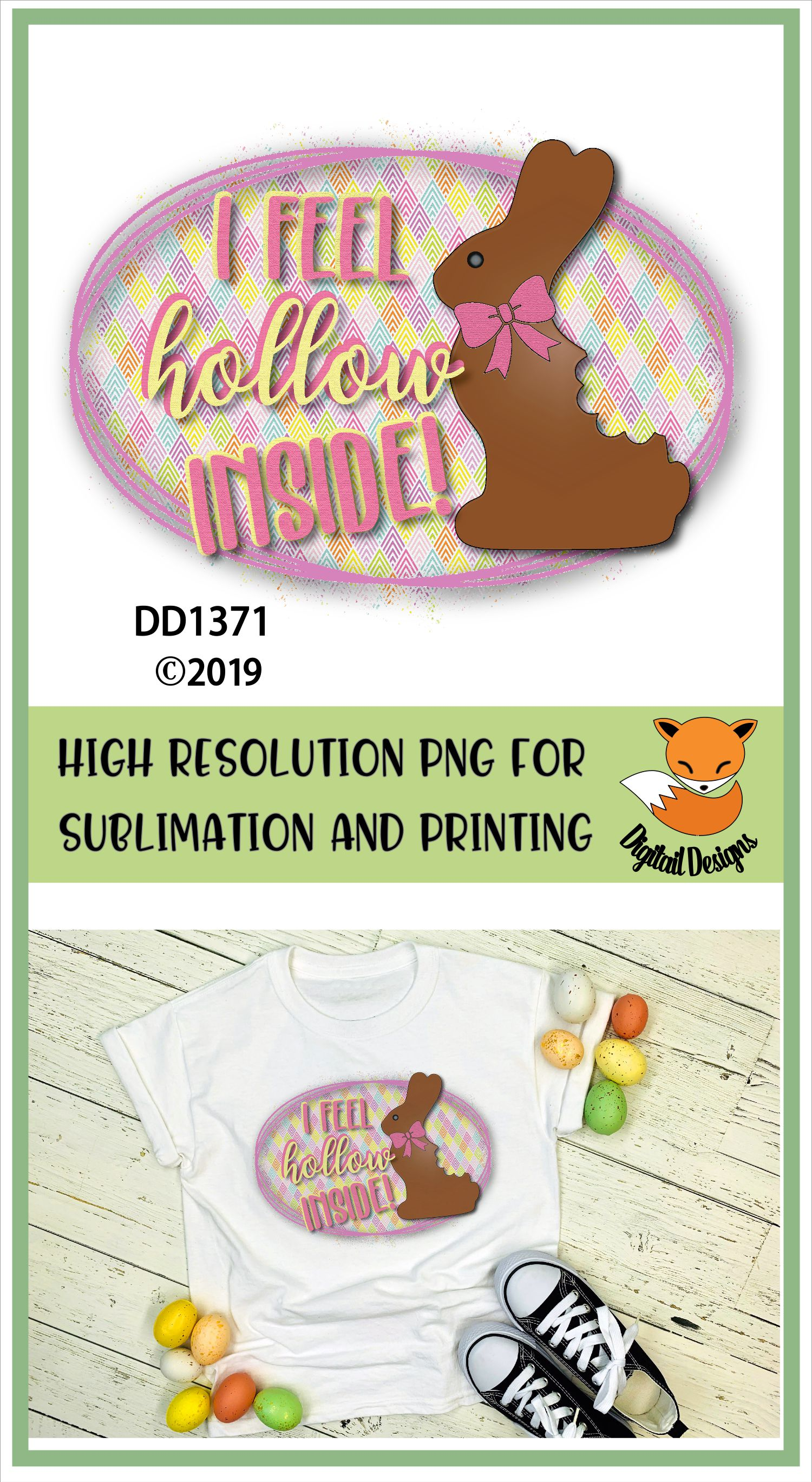 Funny Chocolate Easter Bunny Sublimation Printable example image 2