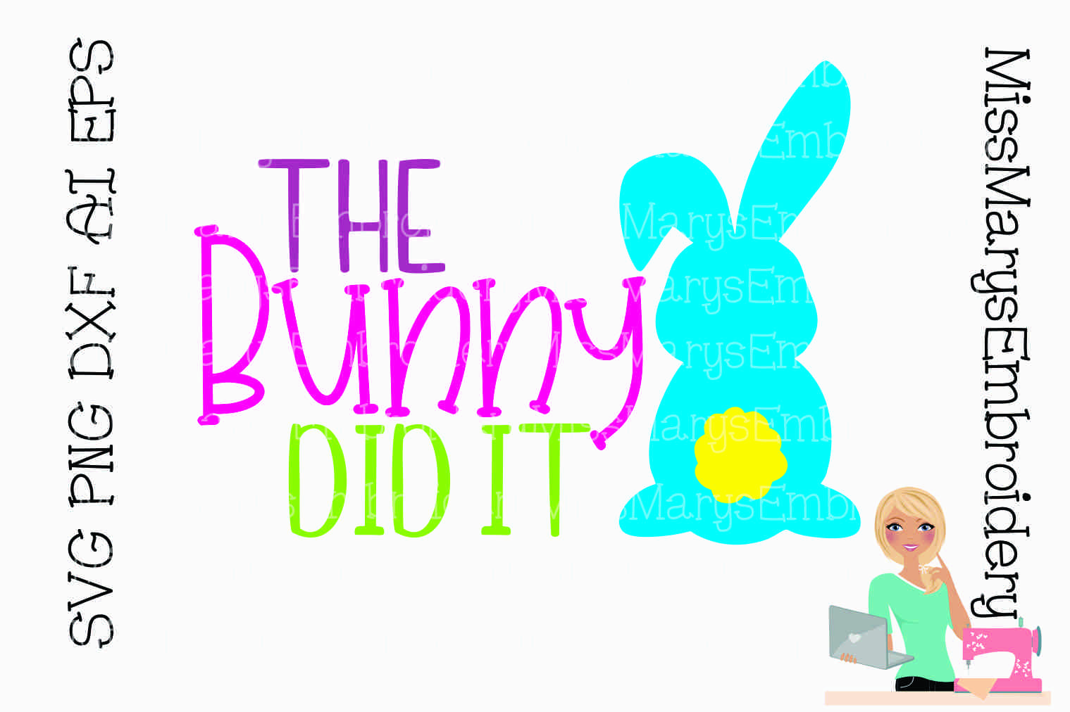 The Bunny Did It SVG Cutting File PNG DXF AI EPS example image 1