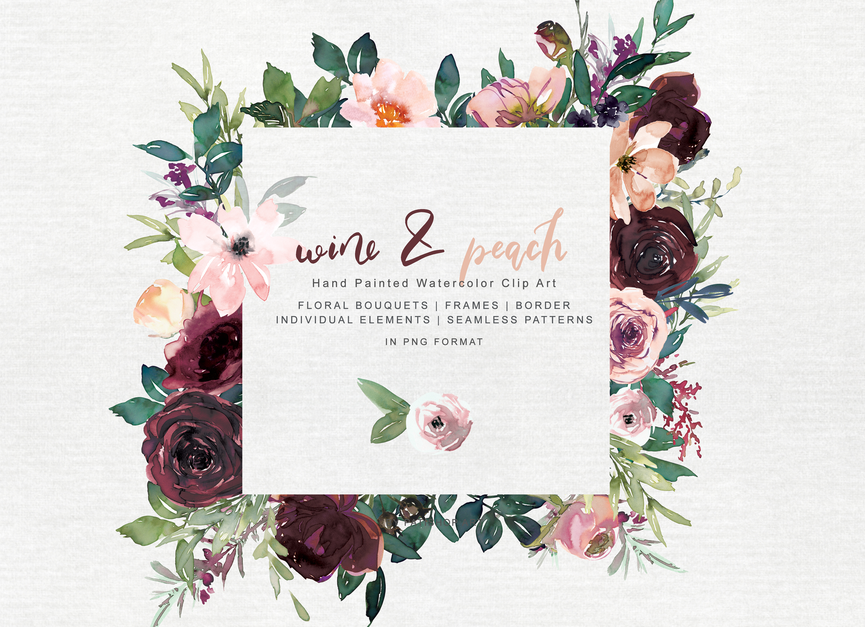 Wine and Peach Floral Bouquet Clipart example image 4
