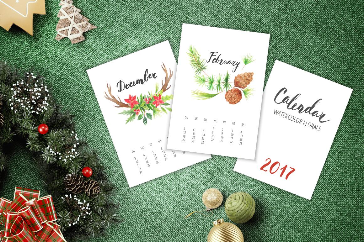 Watercolor Calendar 2017 Template example image 6