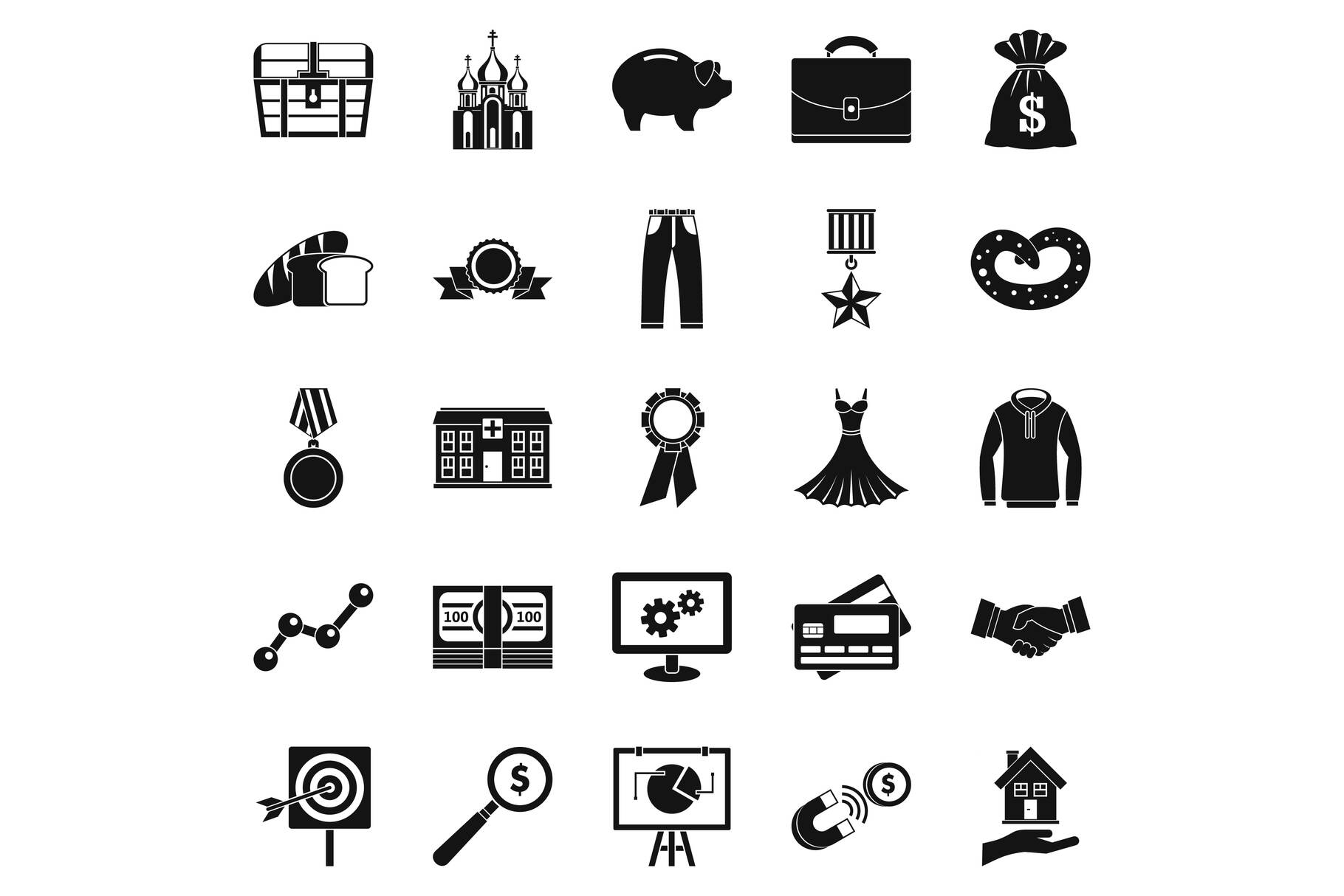 Beneficence icons set, simple style example image 1