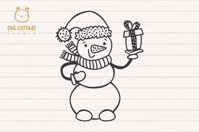 Valentine snowman, Snowman Holding gift Svg, Valentine's Day example image 2