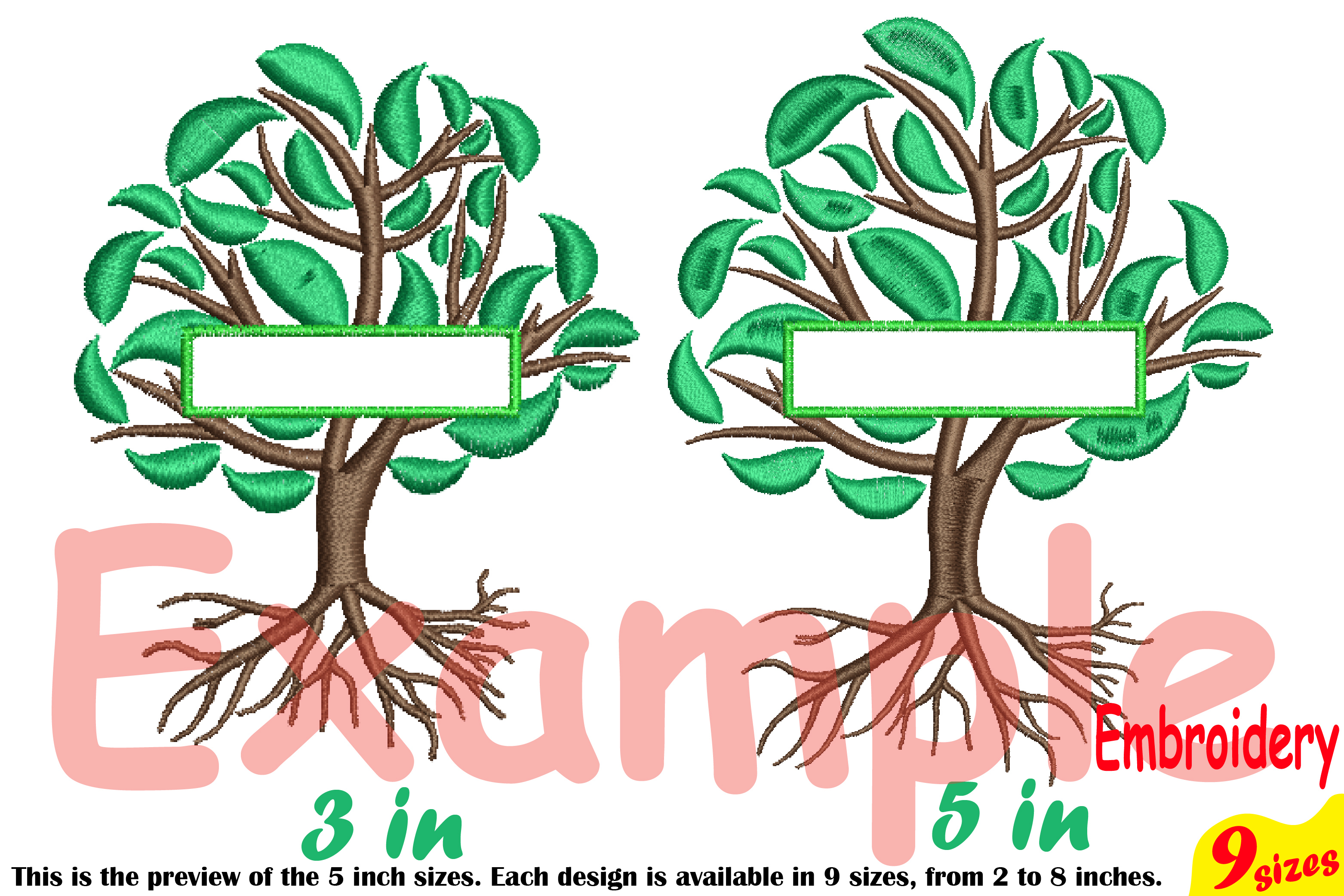 Family Tree Split Embroidery Design Machine Instant Download Commercial Use digital Outline family love Frame Deep Roots Branches 209b example image 3