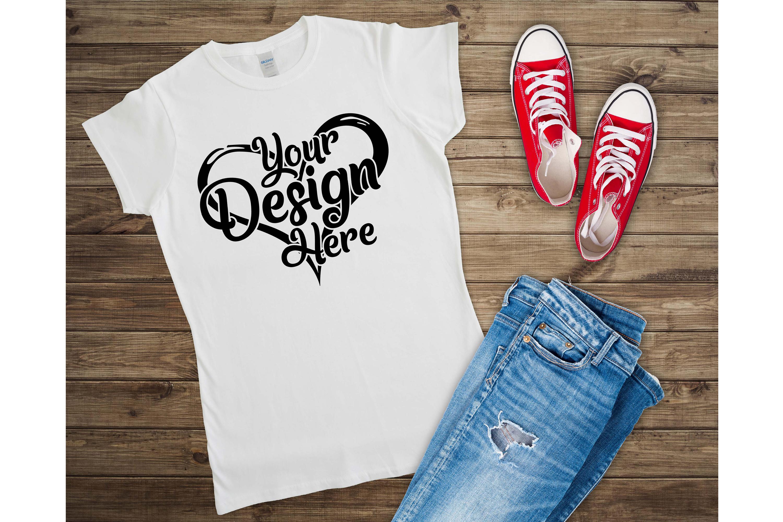 Gildan Ladies T-Shirt Mockup Mega Bundle Flat Lay 64000L example image 25