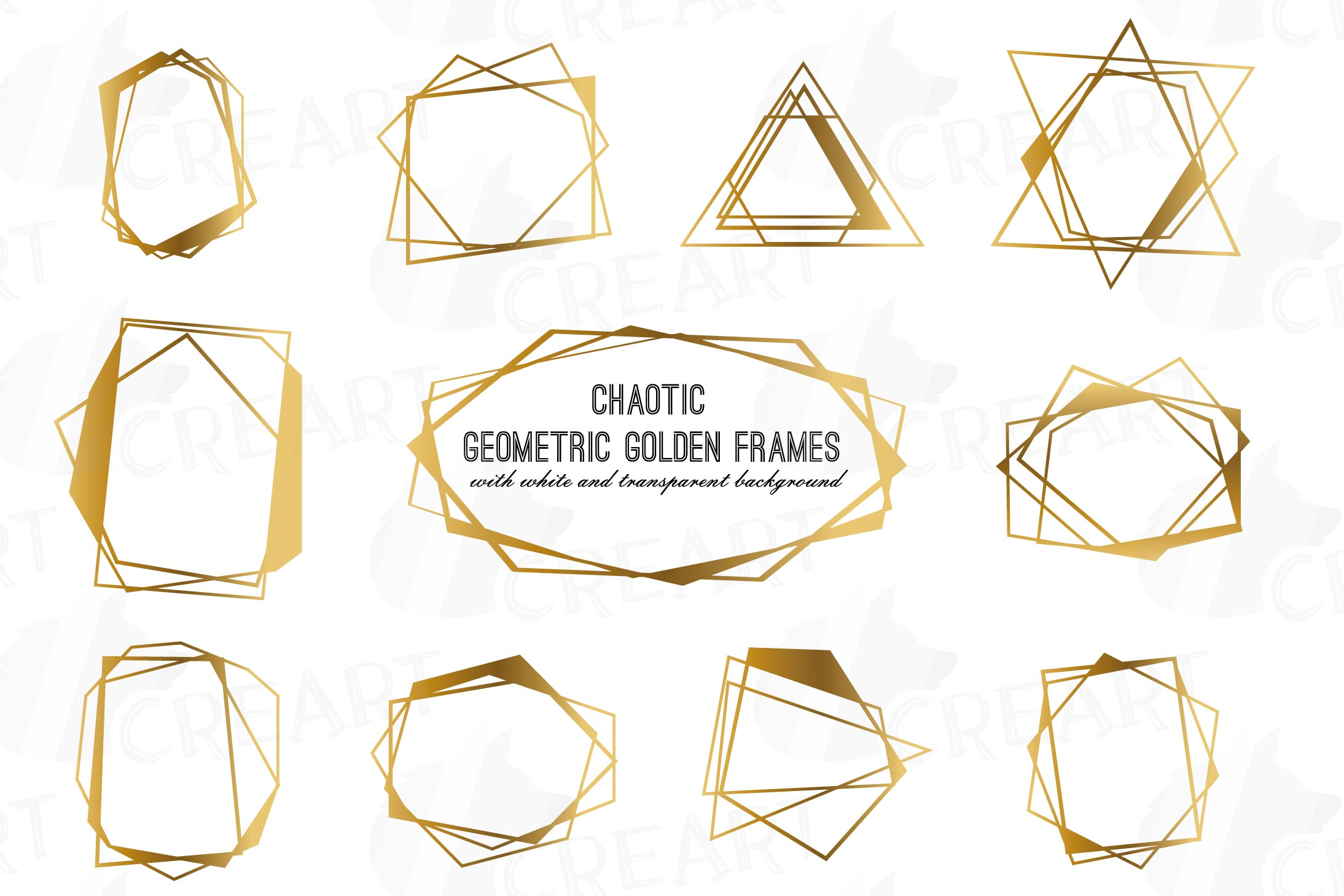 Chaotic geometric golden frames, lineal frames clip art example image 1
