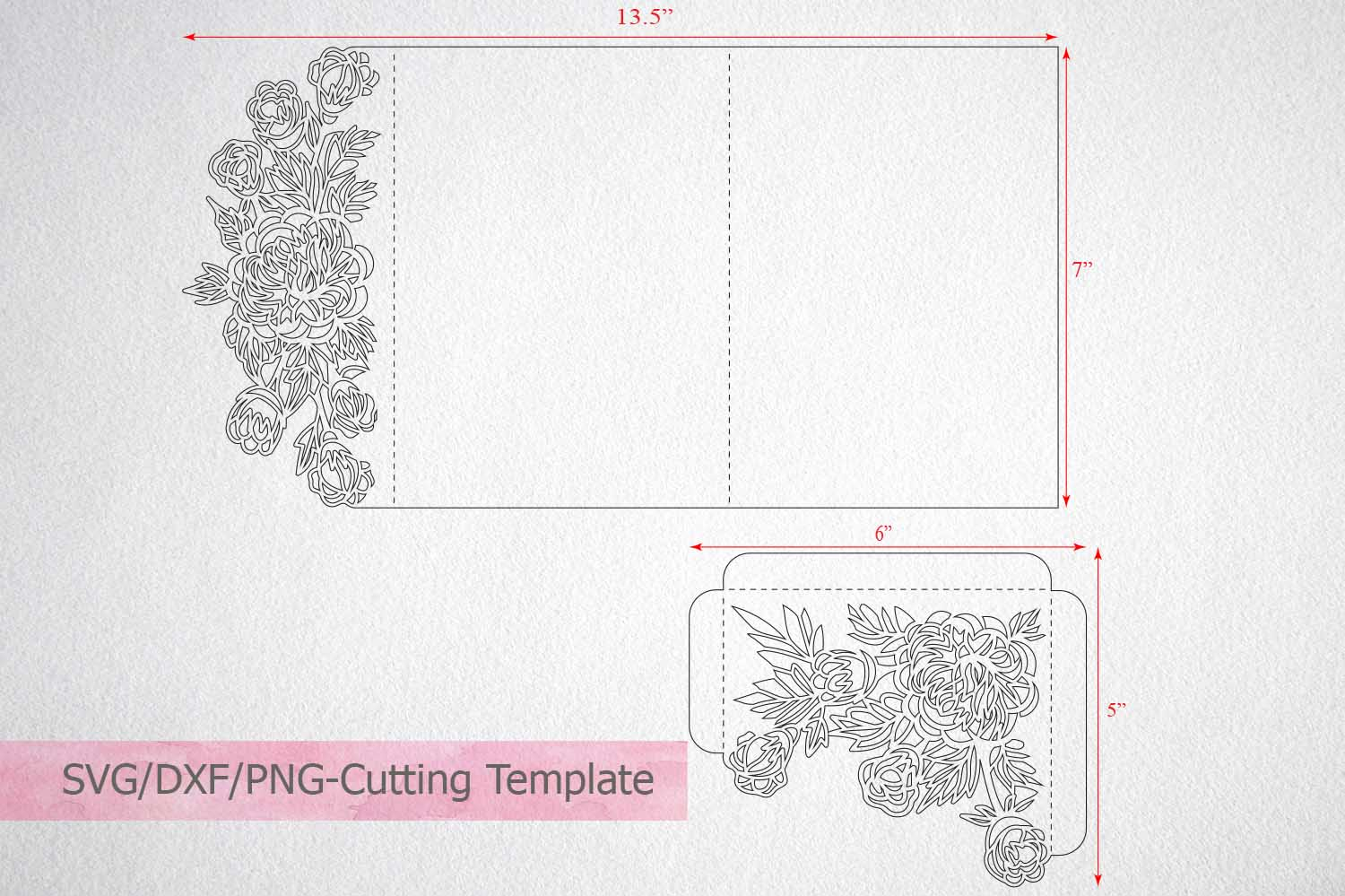 Tri Fold Wedding Invitation Svg Dxf Laser Cut Template