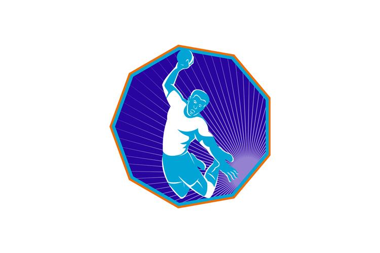 Handball player jumping throwing ball example image 1