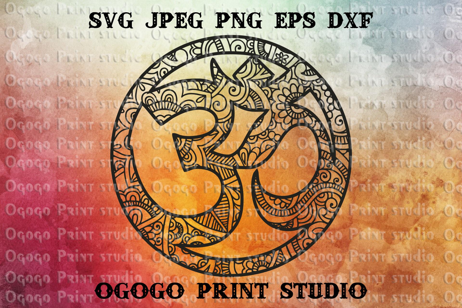 Om symbol SVG, Zentangle SVG, Yoga svg, Mandala svg, Cricut example image 1