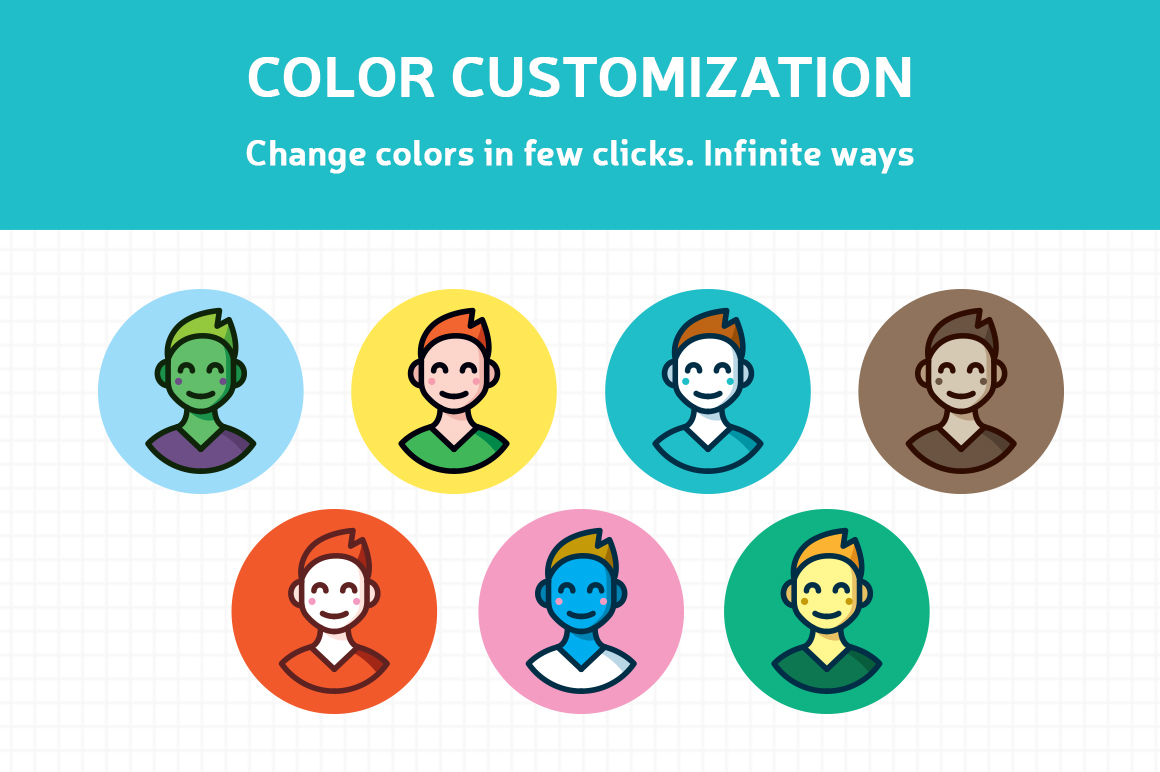 Customizable Outline Icons Set example image 4