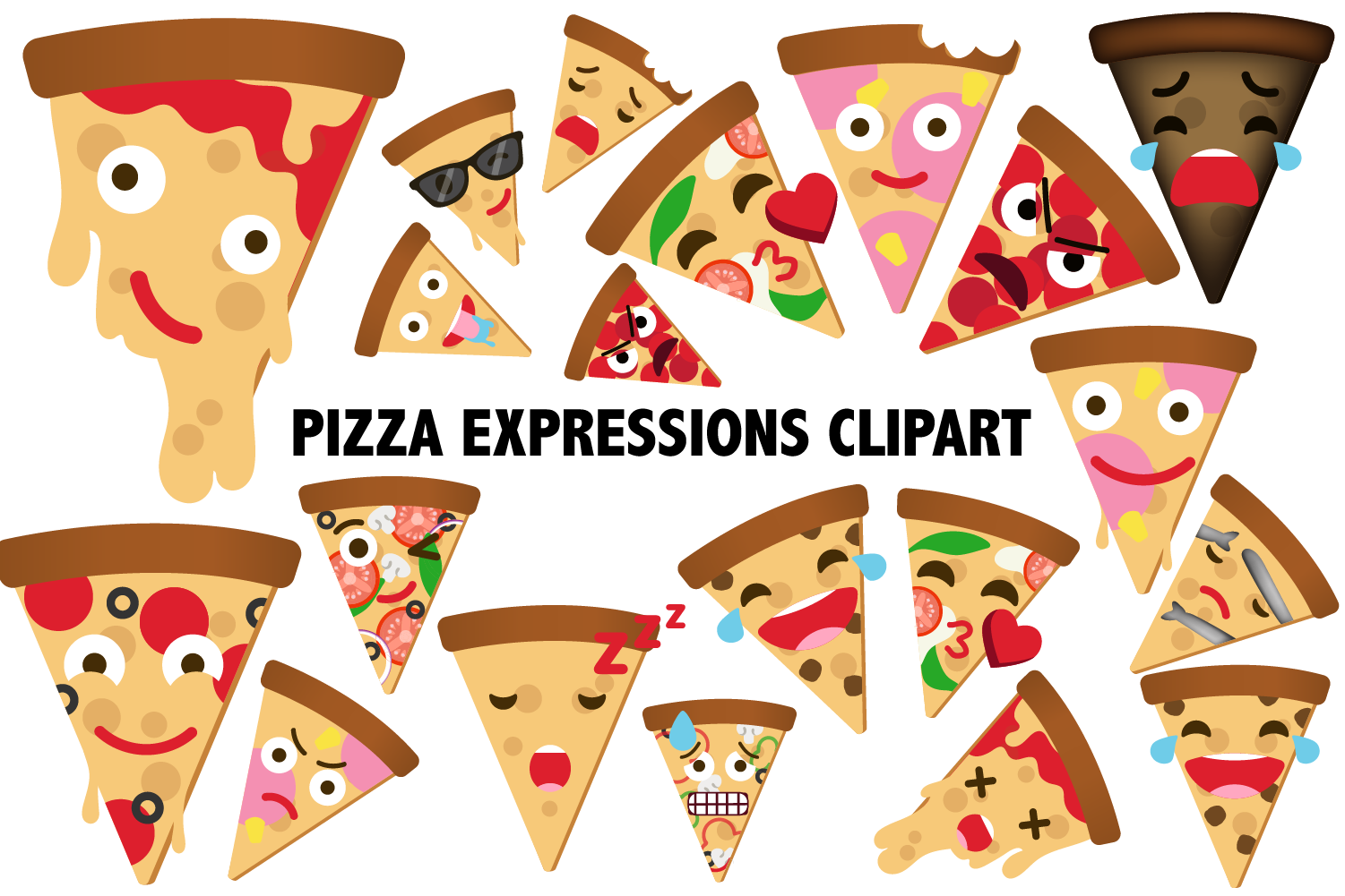 Pizza Expressions Clipart example image 1