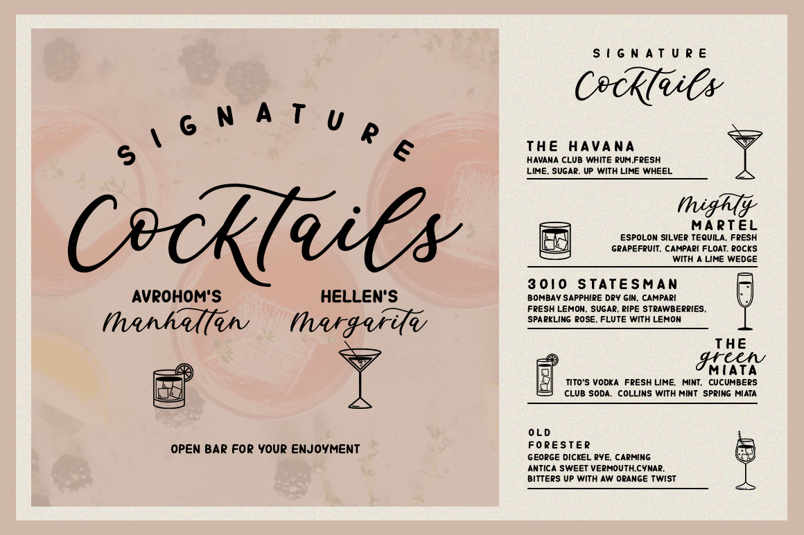Signature Cocktails Font Duo example image 2