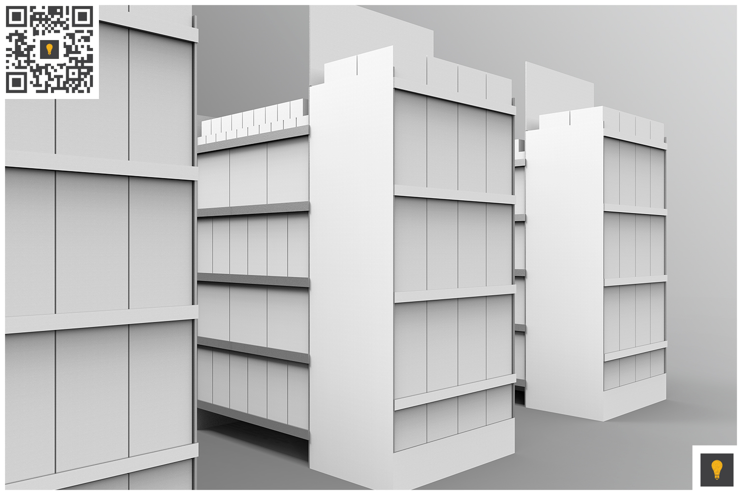 Aisle with Gondola Store 3D Render example image 7