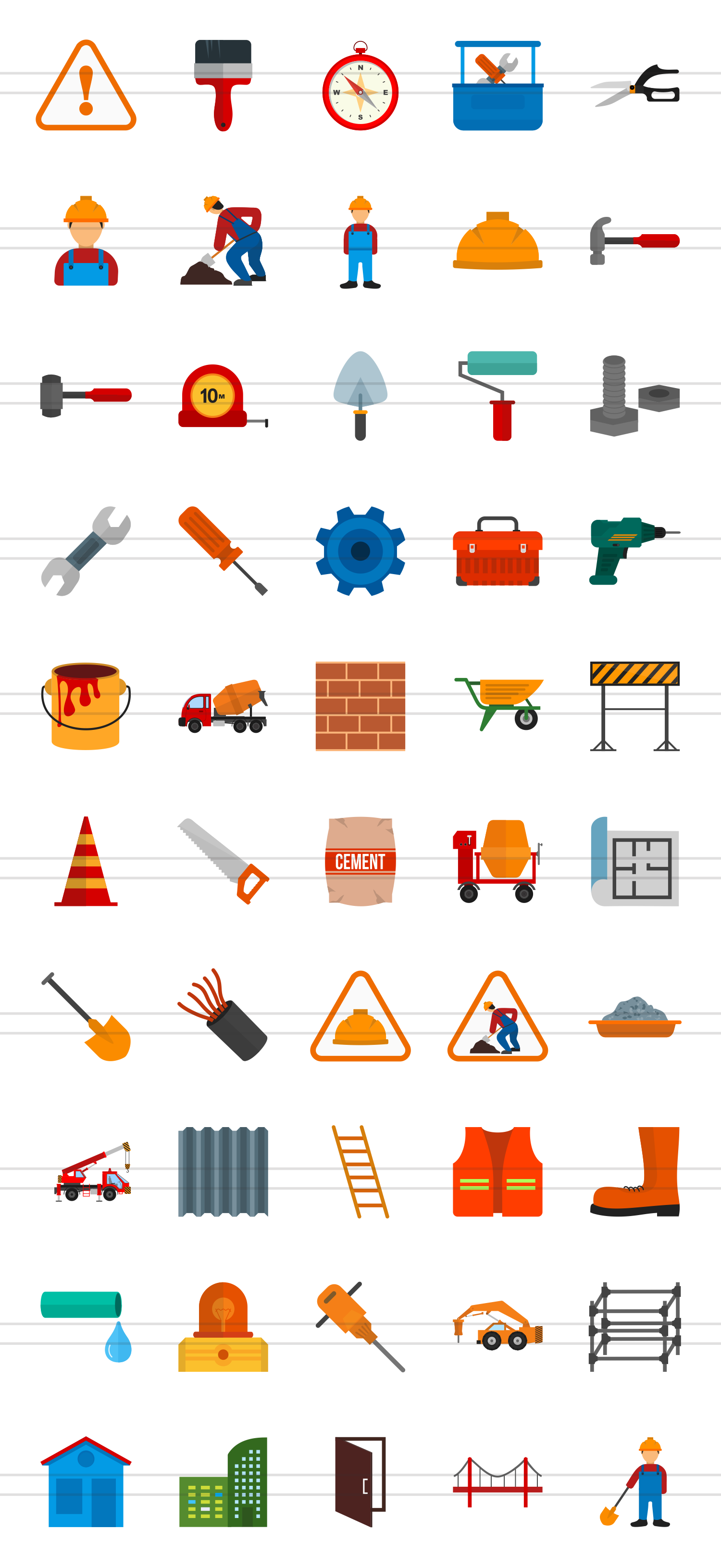 50 Construction Flat Multicolor Icons example image 2
