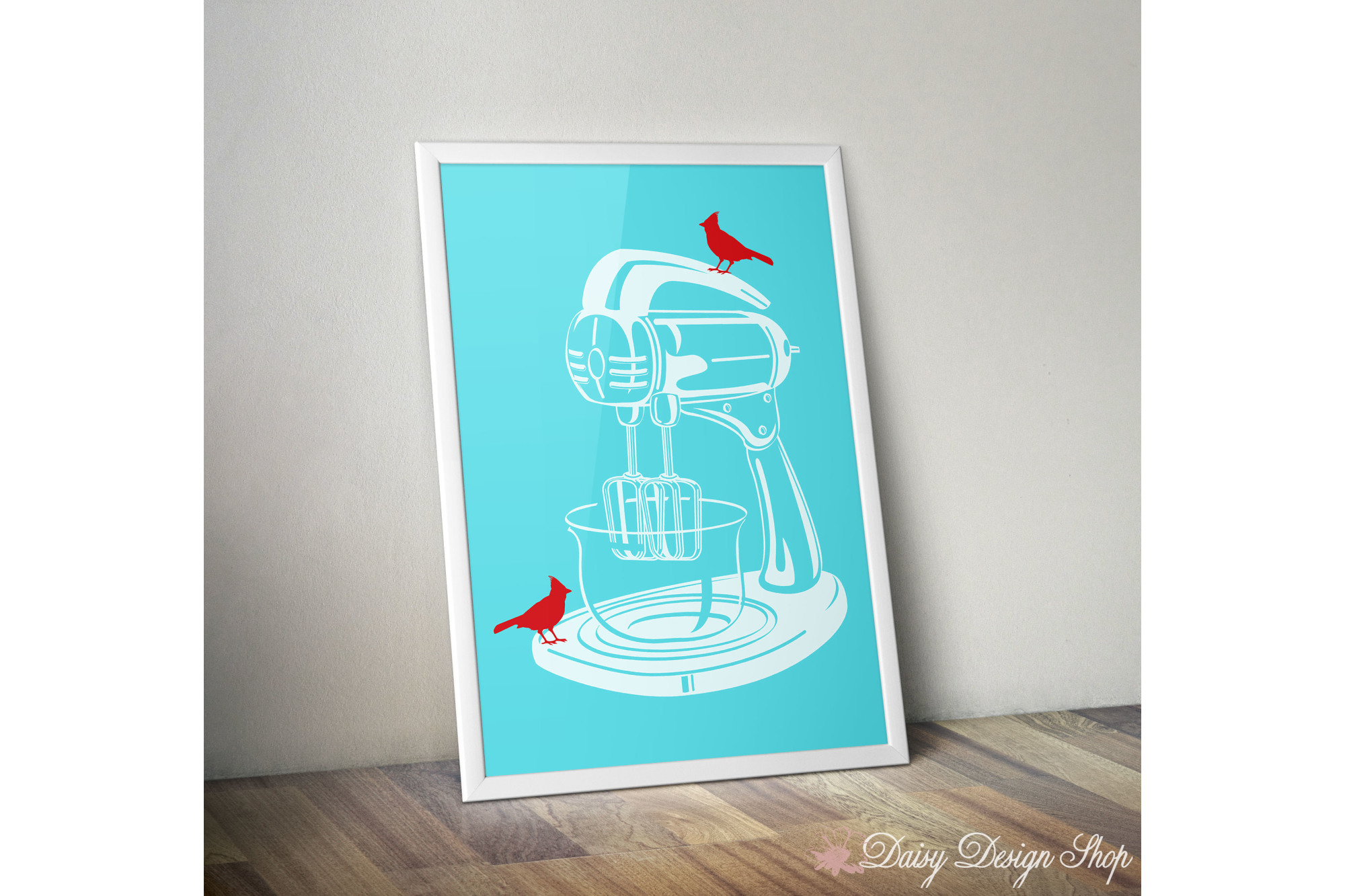Art Print - Stand Mixer with Birds - 8x10 Kitchen Appliance Printable example image 1