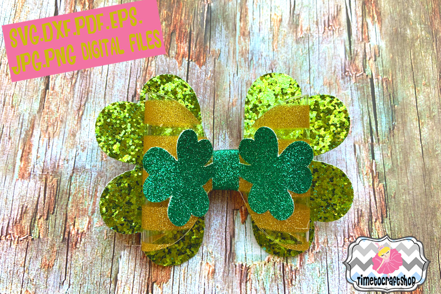 St Patrick's Day Shamrock Clover Hair bow Template example image 1