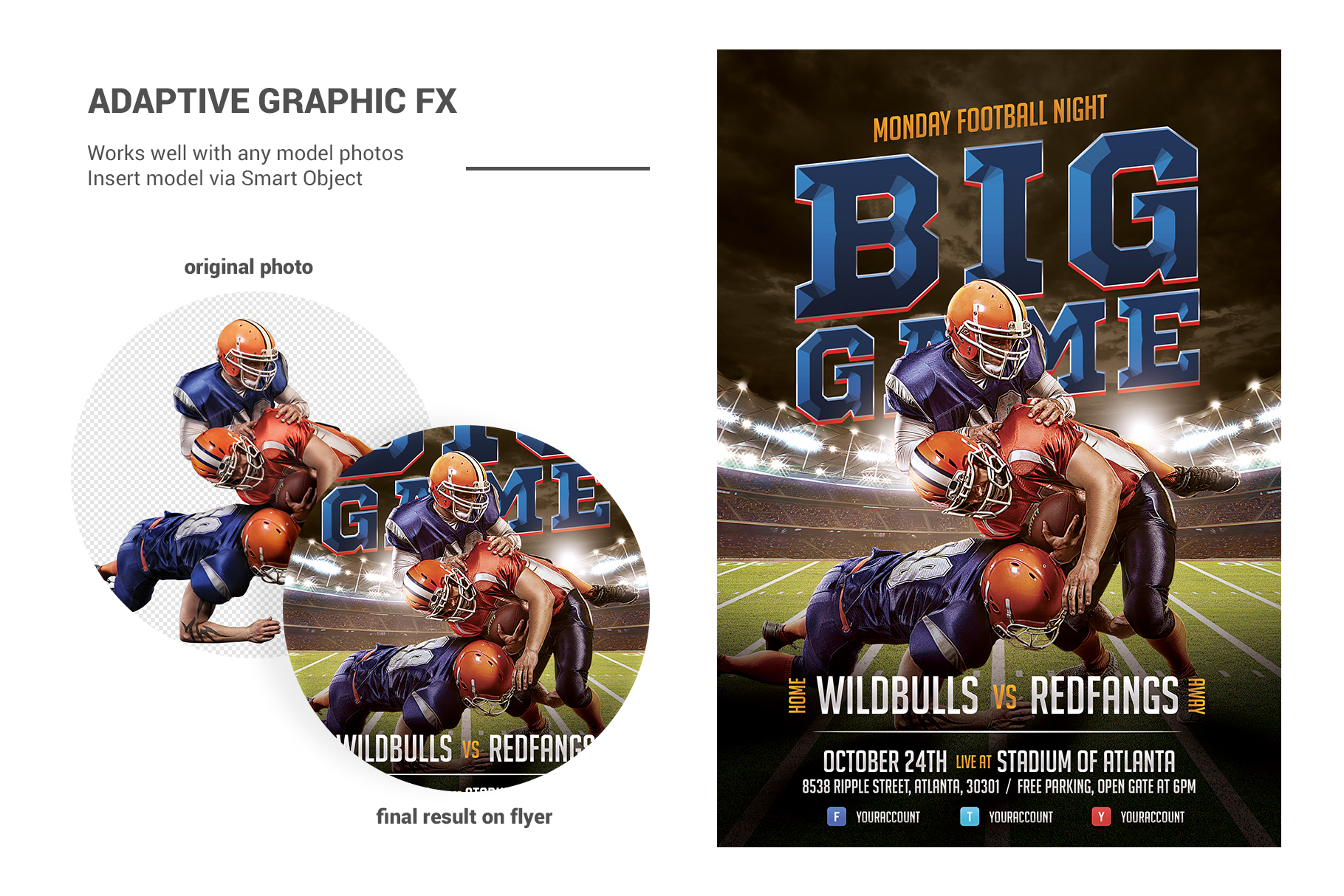 American Football Flyer Template example image 3