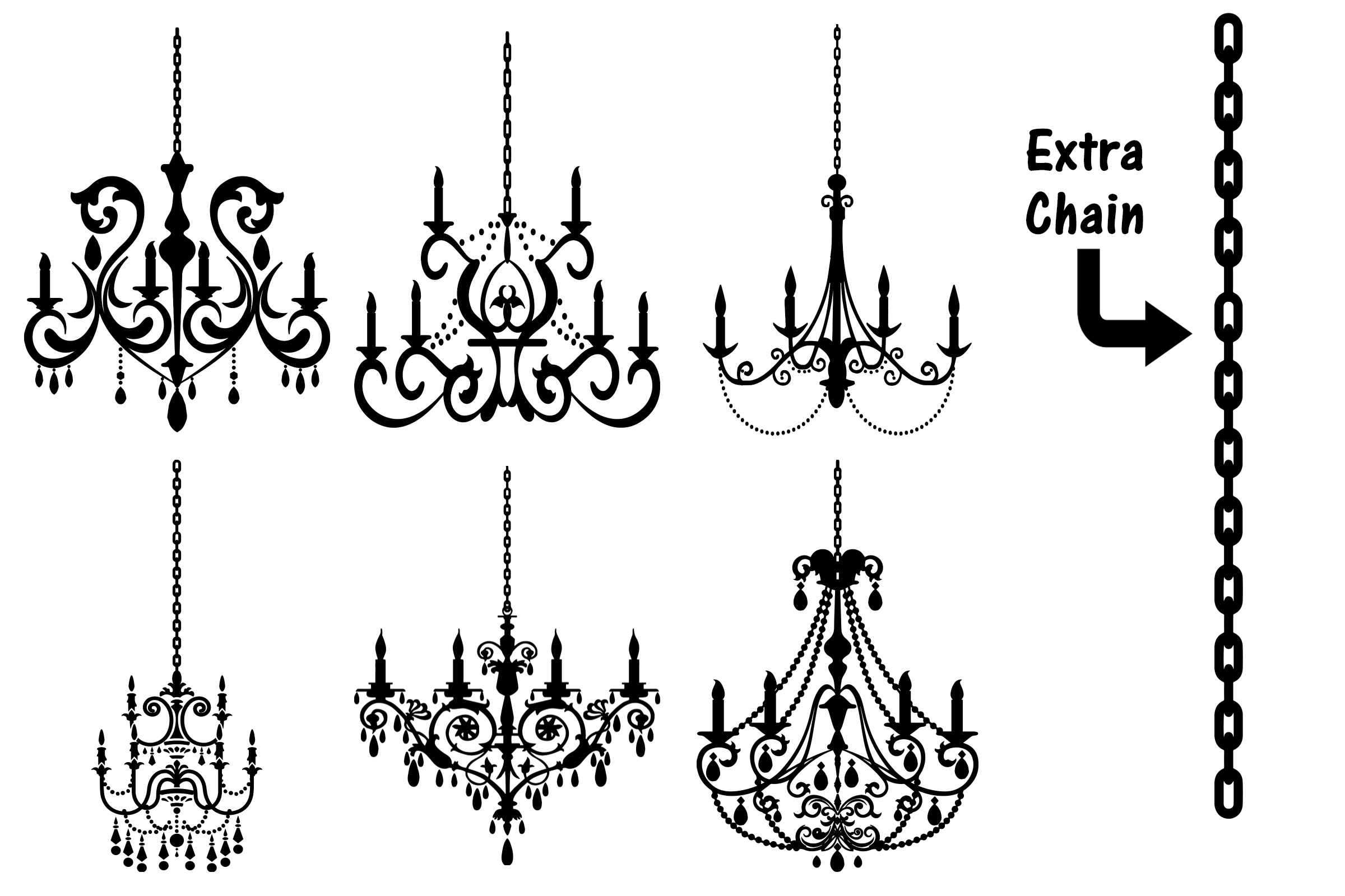 Chandelier Silhouettes Vectors AI EPS PNG example image 3