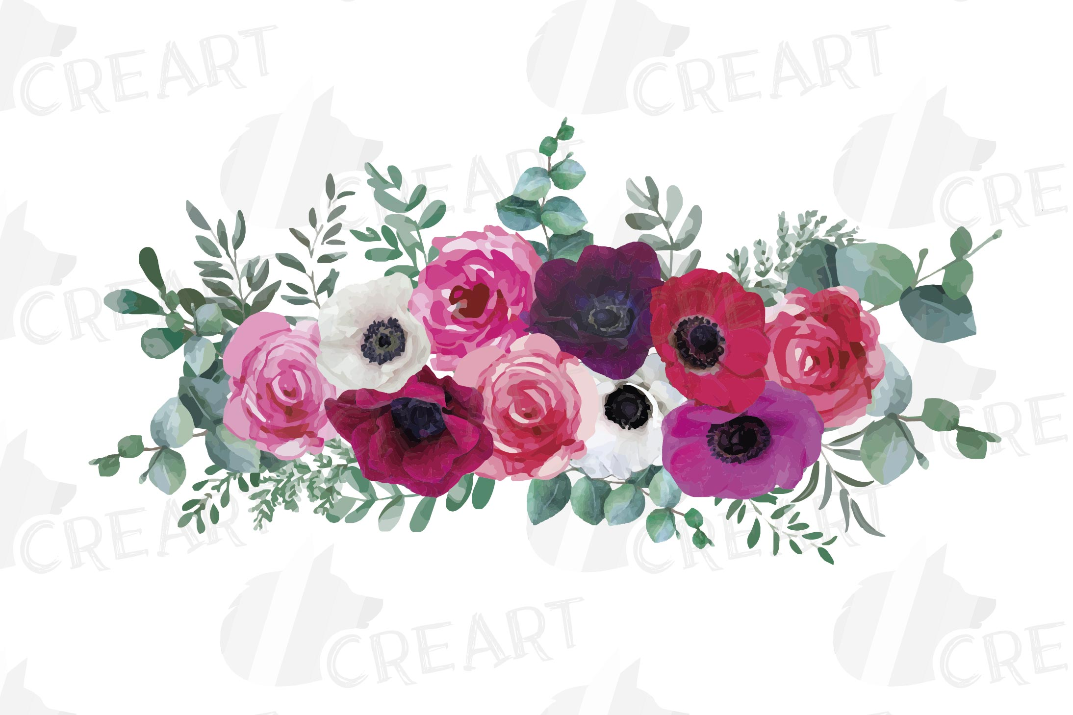 Watercolor elegant floral bouquets 2, rose, anemone decor example image 4