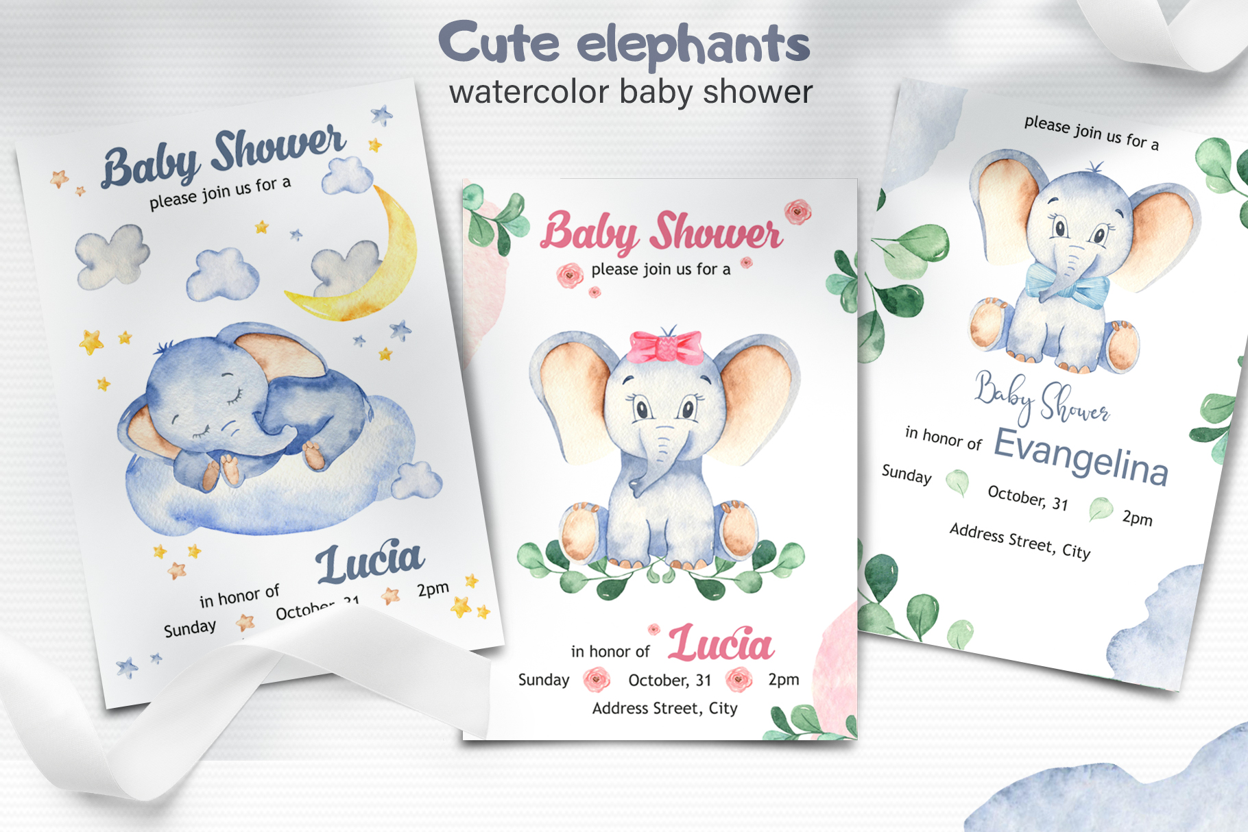 Cute elephants watercolor collection clipart example image 2