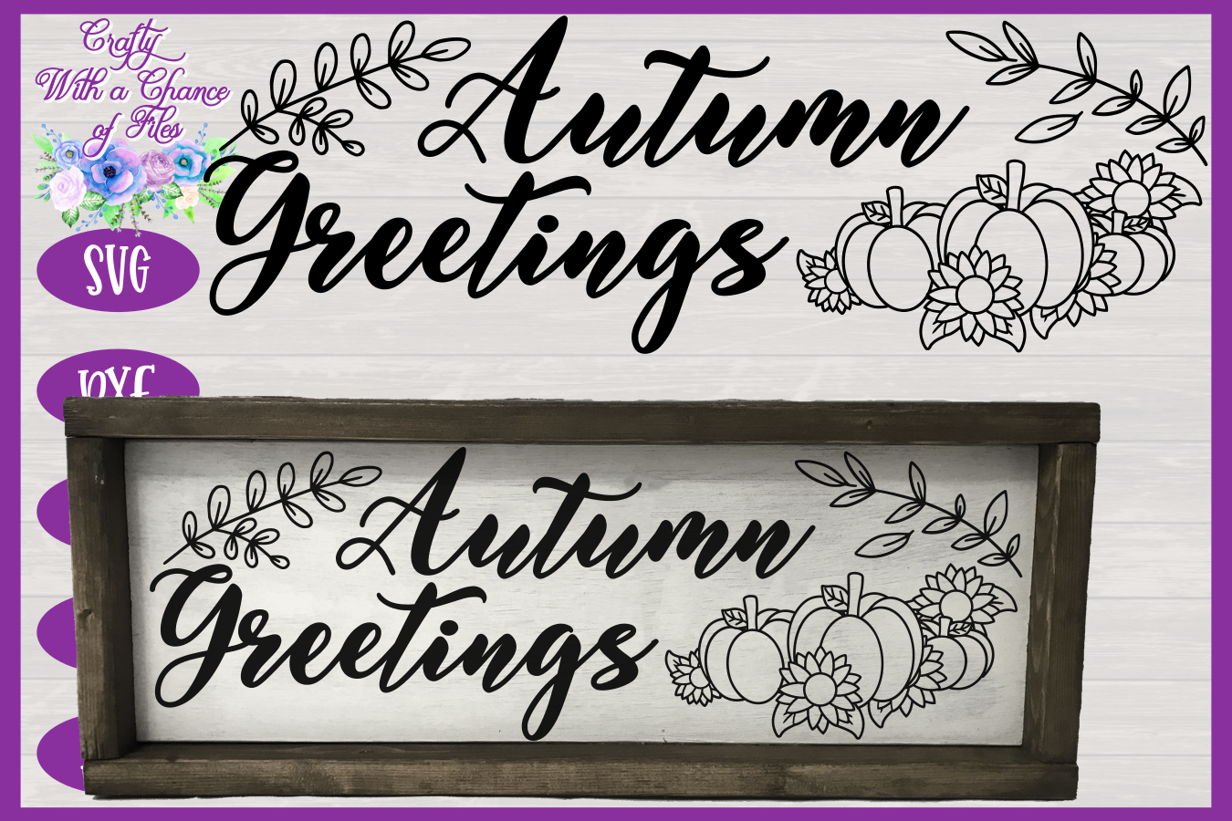 Autumn Greetings SVG | Autumn Sign SVG | Fall Farmhouse SVG example image 1