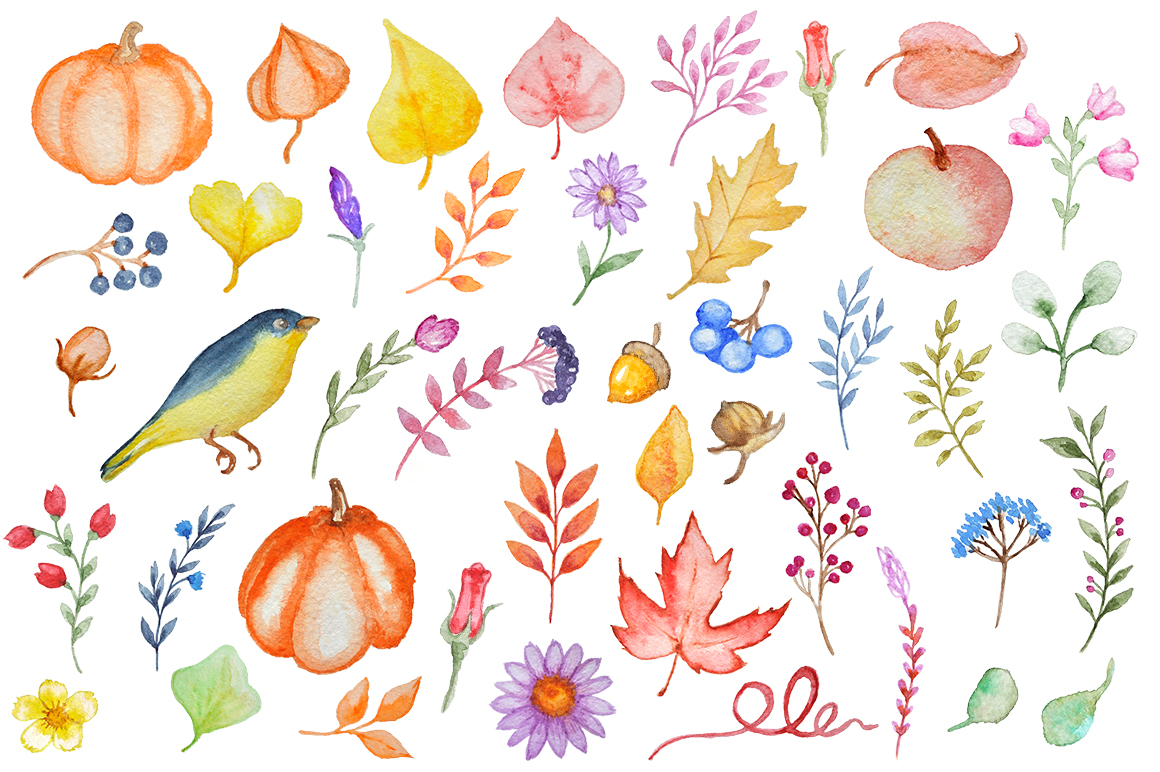 Watercolor Autumn Design Kit example image 2